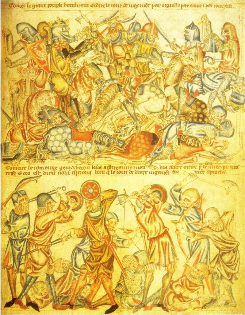 Bataille de Bannockburn (extrait de la Bible d'Holkham, 1327-35)