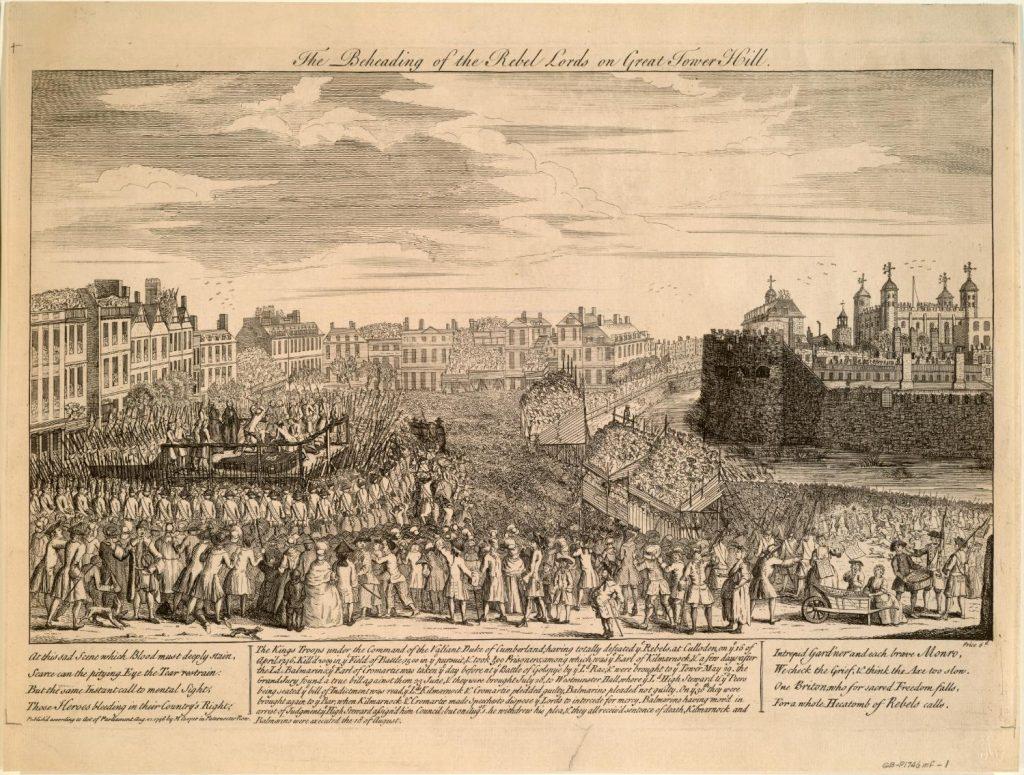 L'exécution des rebelles en place publique, gravure, 1746
