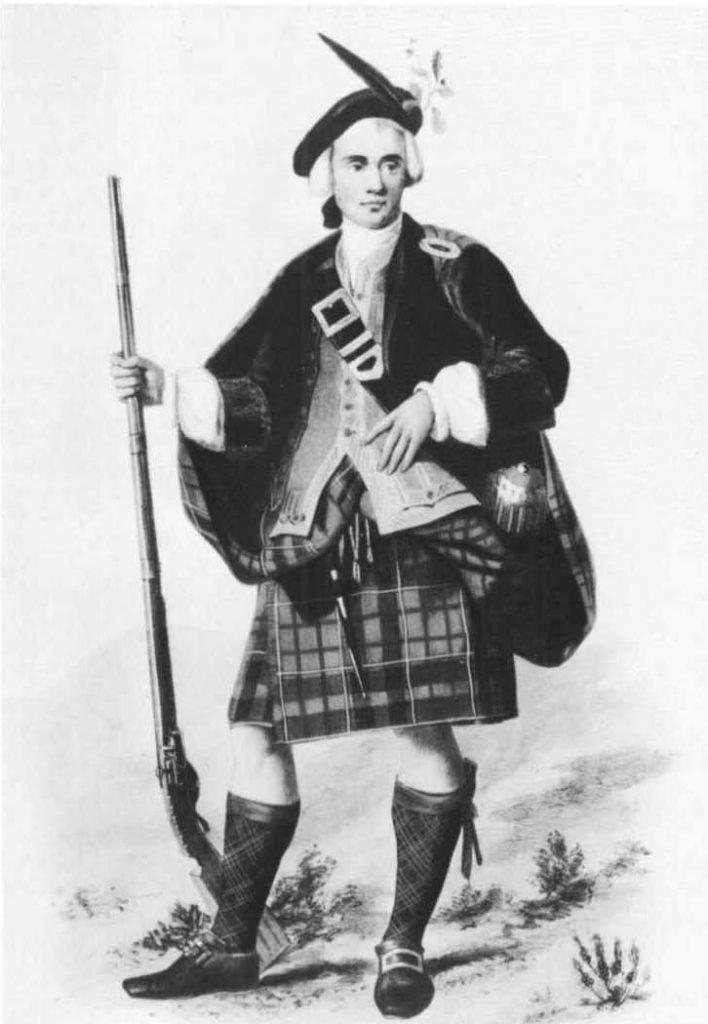 Un jeune homme du clan Cameron (illustration par R. R. McIan, 1845)