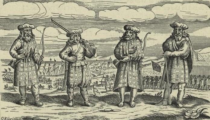 Gravure allemande représentant des Écossais – vers 1630 - Une des premières iconographies connues représentant un belted plaid et des trews