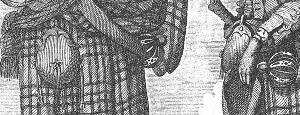 sporran porté par des soldats de troupes régulières, vers 1740