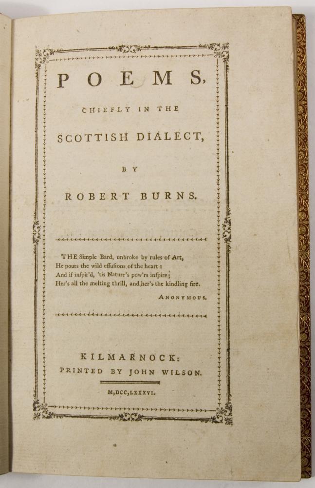 Première édition des poèmes de Robert Burns par Kilmarnock