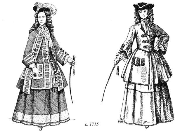 Illustration de veste de chasse à cour et de tenue de cavalière, 1715
