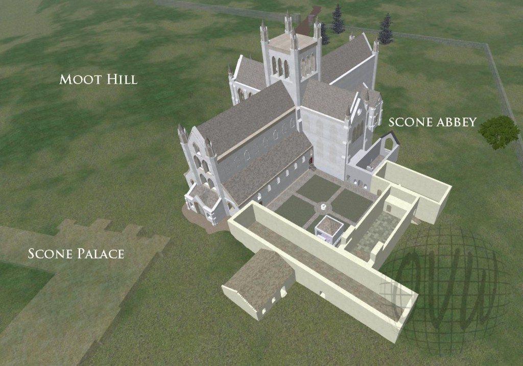 Représentation en 3D de ce qu'aurait pu être l'abbaye de Scone (© openvirtualworlds.org)