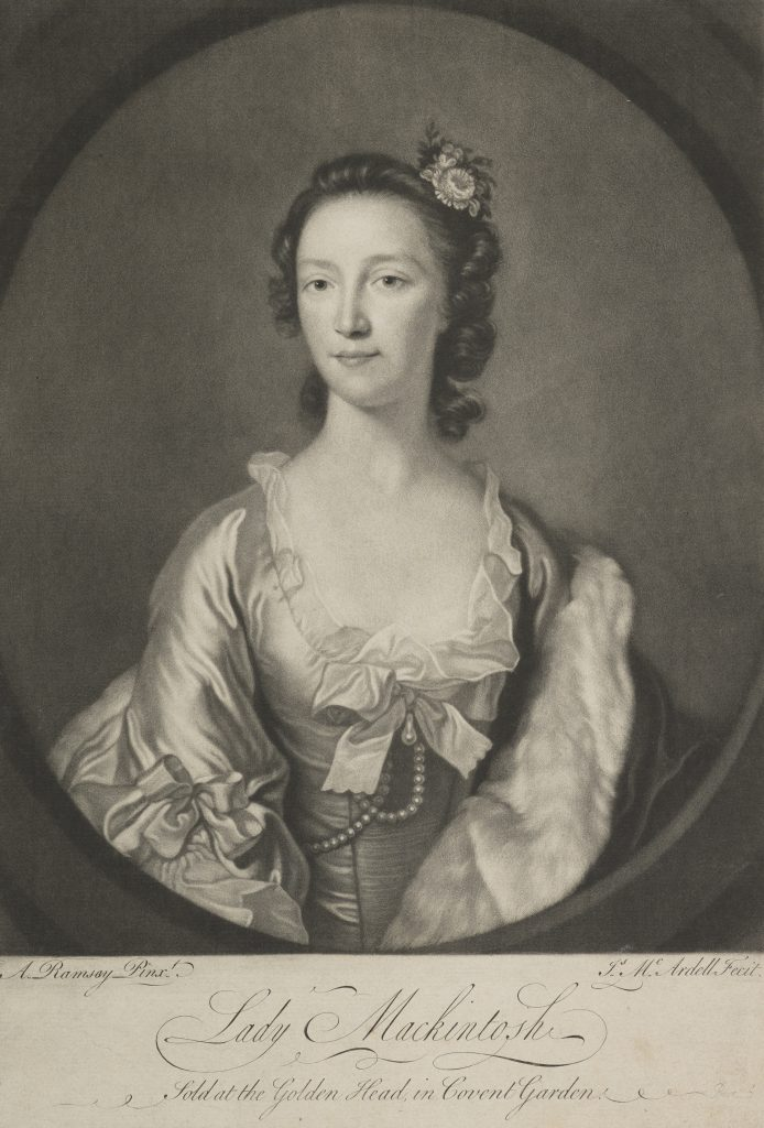 Lady Mackintosh, Impression par James Macardell (1754-1765), d'après Allan Ramsay (1748)