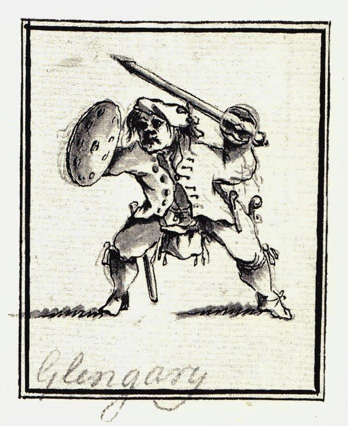 Identifié comme Glengarry, plus probablement le Colonel Angus McDonnell, deuxième fils de Glengarry. Accidentellement tué le 22 janvier 1746 - les dessins de Penicuik - vers 1745