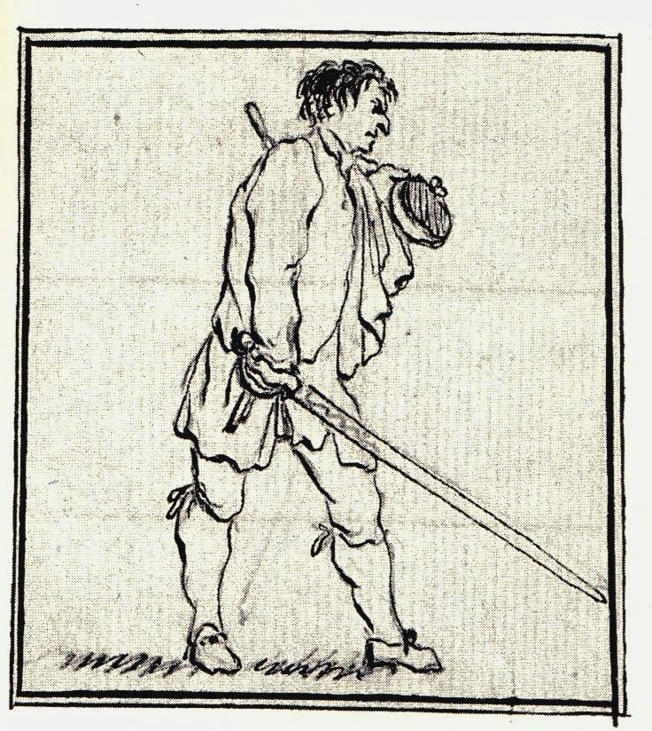 Un élégant officier - les dessins de Penicuik - vers 1745