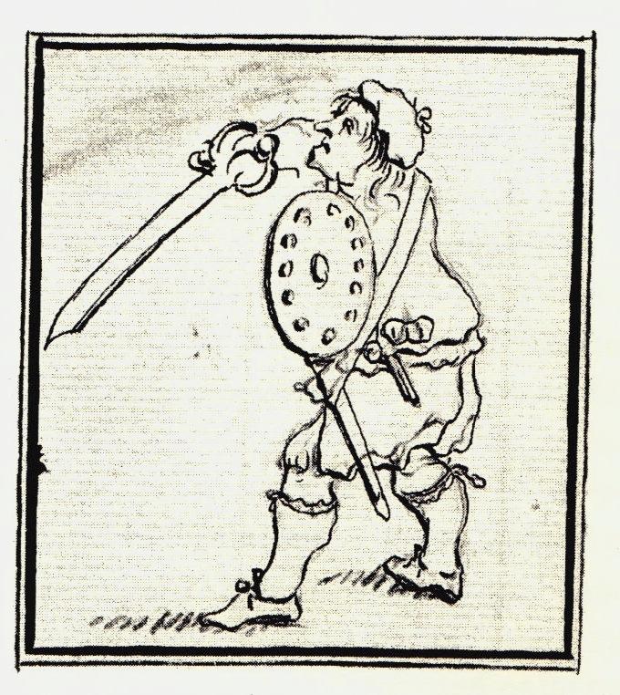 Un clansman équipé d'une broadsword à lame courbe - les dessins de Penicuik - vers 1745