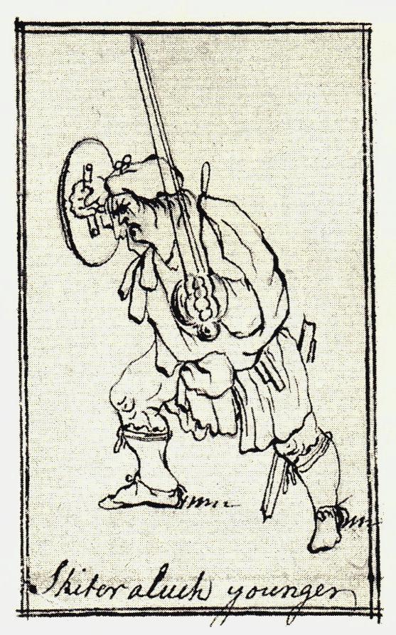 """""""Shiterluck Younger"""" - probablement McGhie de Shirloch, mortellement blessé à Culloden - les dessins de Penicuik - vers 1745"""