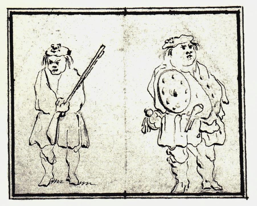L'officier à droite est peut-être Charles Stewart d'Ardesheal, commandant du Appin Regiment - les dessins de Penicuik - vers 1745