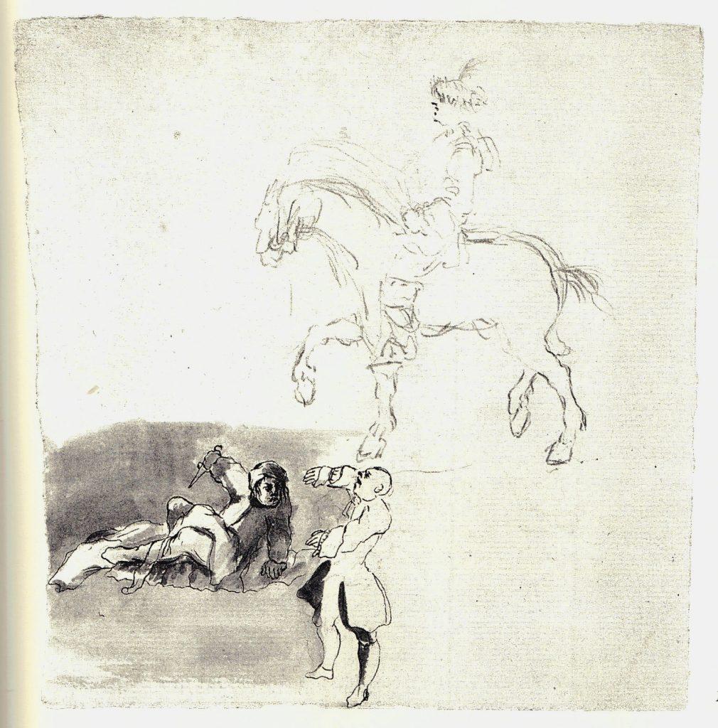 Un réveil difficile - hussard en arrière plan - les dessins de Penicuik - vers 1745