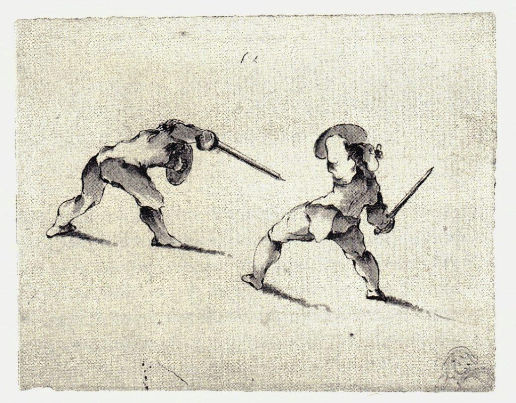 Deux highlanders s'entraînant au combat - les dessins de Penicuik - vers 1745