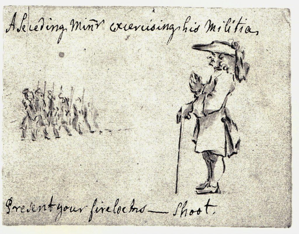 Un officier dirigeant des exercices de tir - les dessins de Penicuik - vers 1745