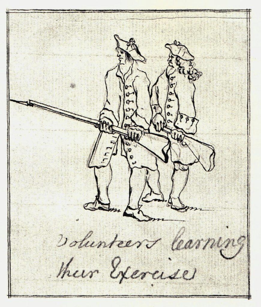 Des volontaires en plein exercice - les dessins de Penicuik - vers 1745