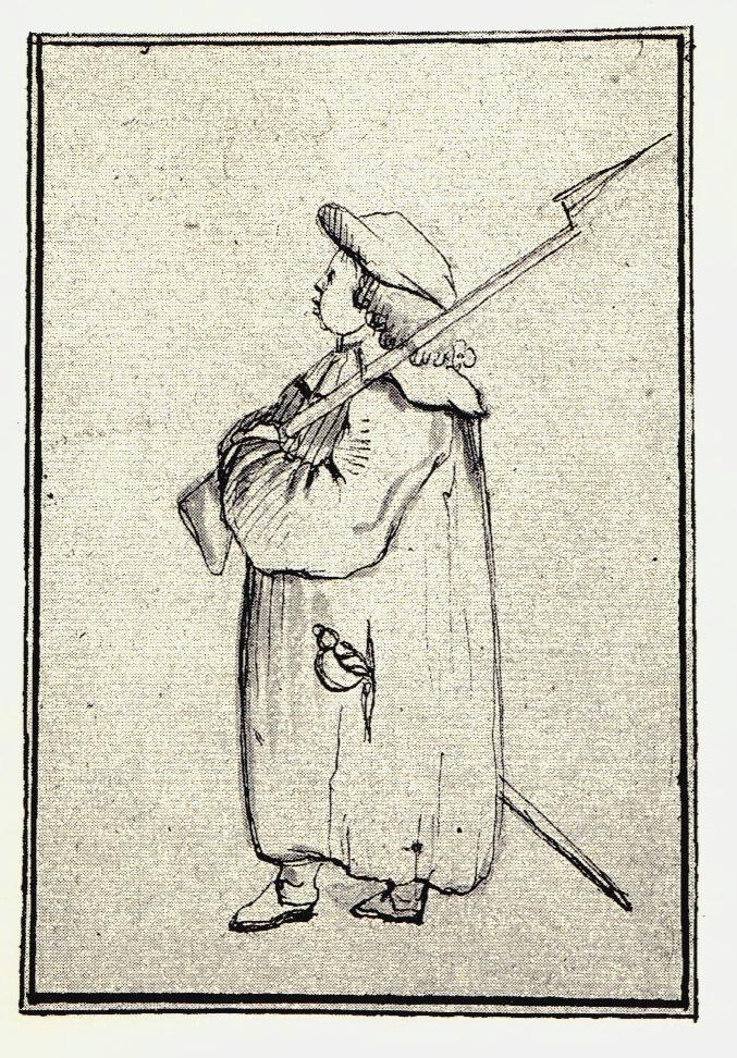 Une sentinelle par temps de pluie - les dessins de Penicuik - vers 1745