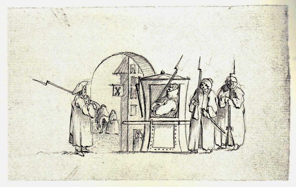 Sentinelles par temps de pluie et chaise à porteurs - les dessins de Penicuik - vers 1745
