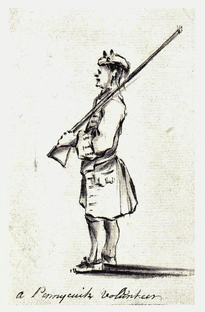 Un volontaire de Penicuik - les dessins de Penicuik - vers 1745