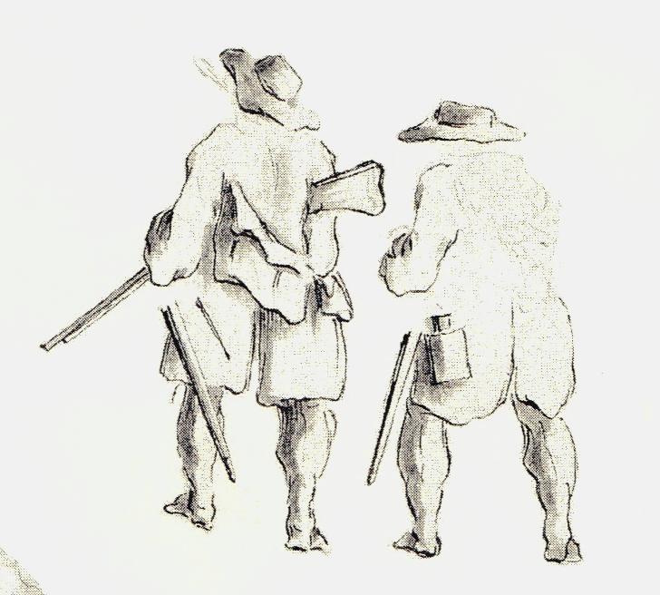 Soldat anglais d'une troupe régulière. Représenté peu équipé, ce qui est très rare à l'époque - les dessins de Penicuik - vers 1745