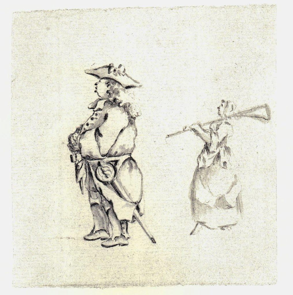 Un officier jacobite. Notez la femme en arrière plan portant un mousquet - les dessins de Penicuik - vers 1745