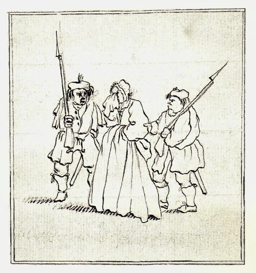 Deux highlanders arrêtent une femme d'Édimbourg - les dessins de Penicuik - vers 1745