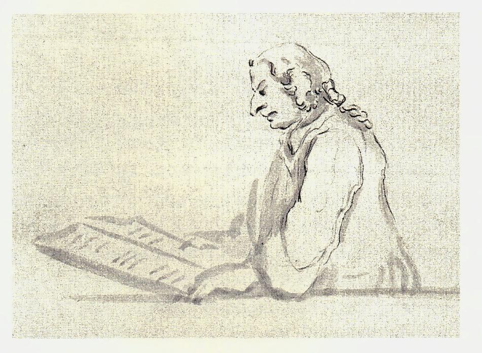 Gentleman en pleine lecture. Peut-être un homme de loi - les dessins de Penicuik - vers 1745