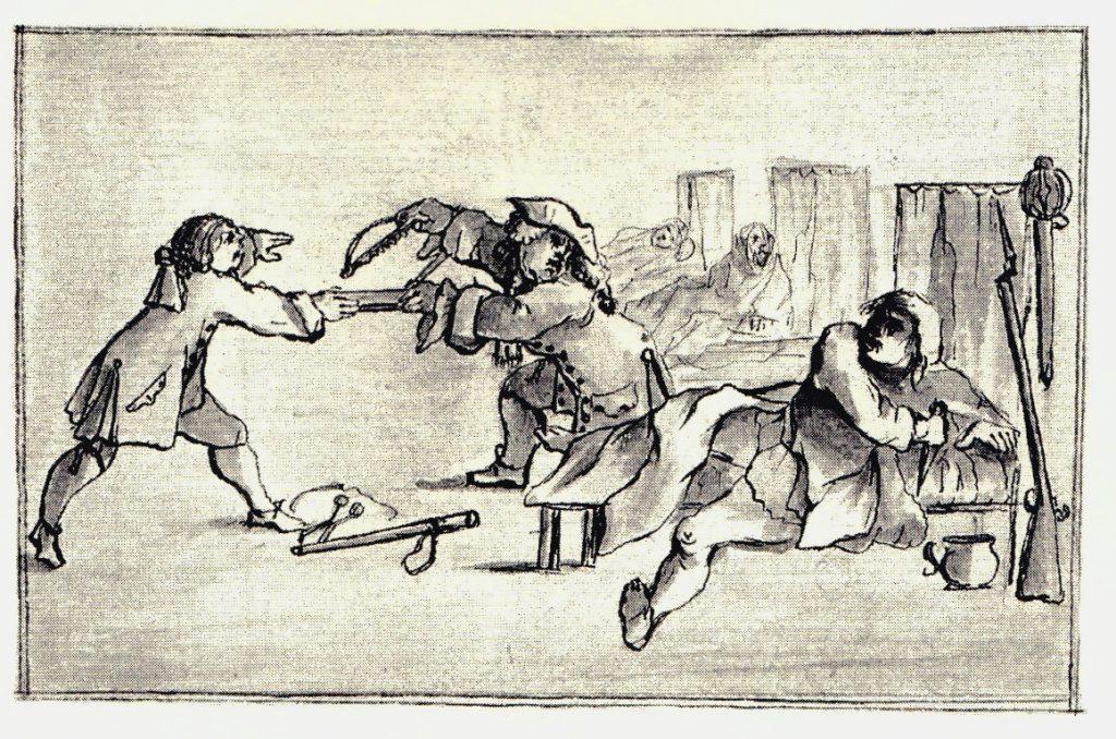 Scène de vie dans un dortoir - les dessins de Penicuik - vers 1745