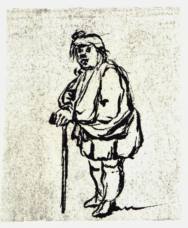 Soldat jacobite blessé ou infirme - les dessins de Penicuik - vers 1745