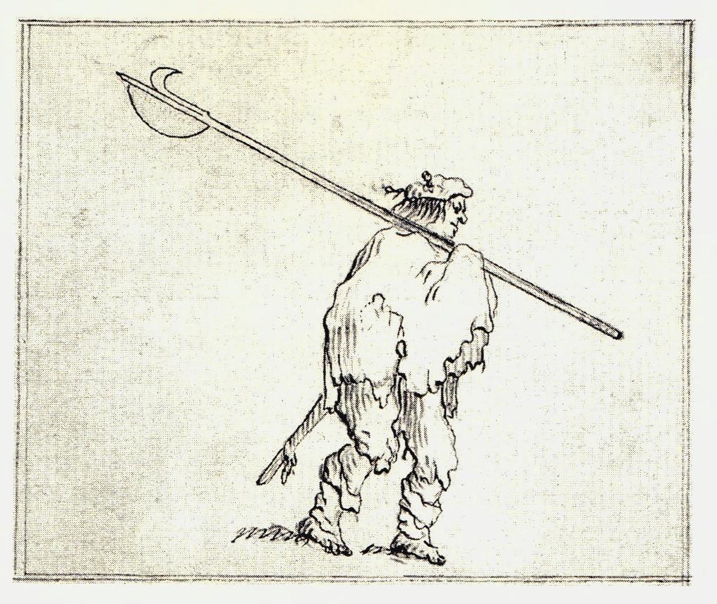 Un highlander portant une Lochaber Axe et des trews - les dessins de Penicuik - vers 1745