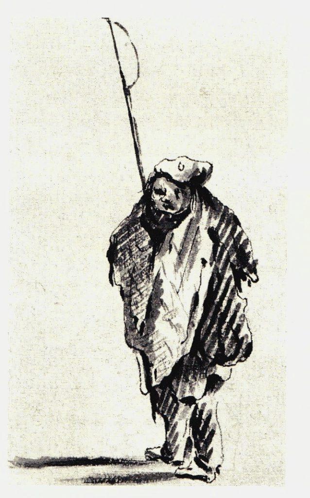 Sentinelle portant une Lochaber Axe - les dessins de Penicuik - vers 1745