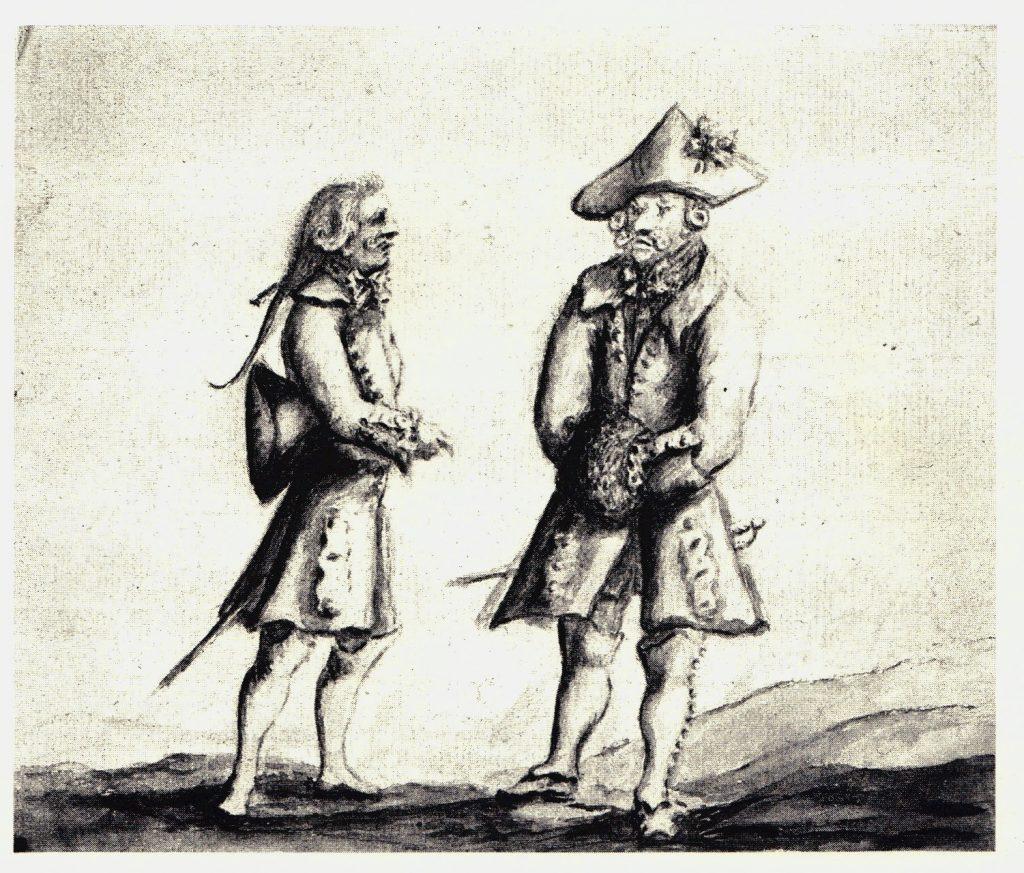 Deux gentlemen probablement jacobites (d'après la cocarde sur le tricorne) - les dessins de Penicuik - vers 1745