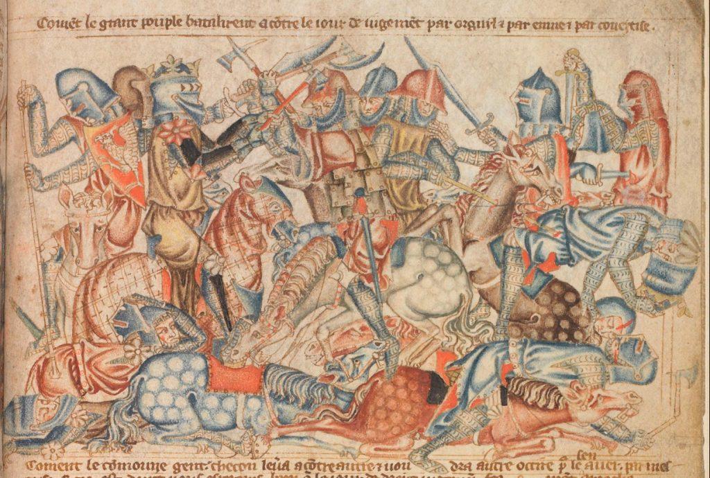Scène de bataille de la bible d'Holkham. Le roi à la hache est identifié comme Robert the Bruce à Bannockburn, auteur inconnu, 14e siècle