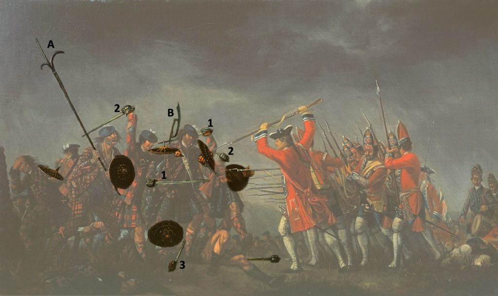 Analyse armes The battle of Culloden, David Morier, 1746
