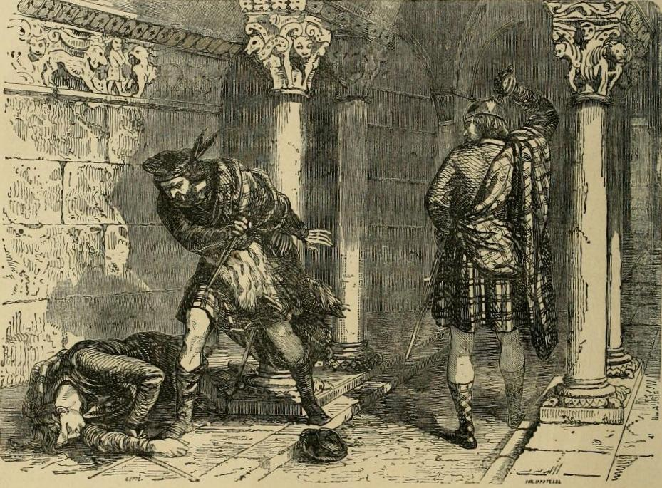 Assassinat de John Comyn par Robert the Bruce, par Henri Félix Emmanuel Philippoteaux, 1856