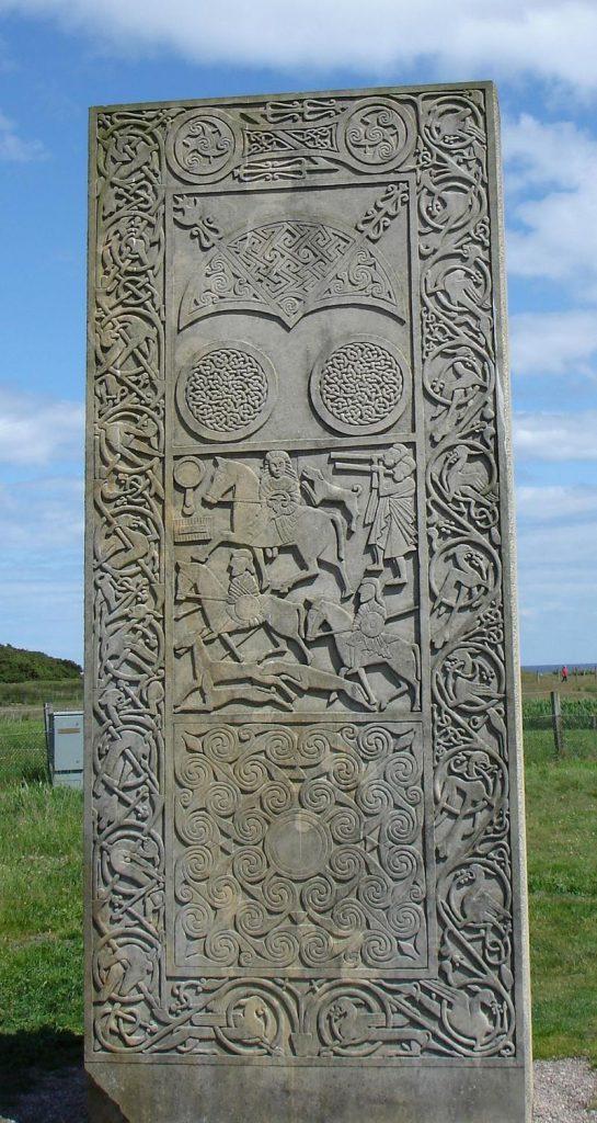 Copie de la pierre du Hilton de Cadboll par Barry Grove - original du VIIIème siècle