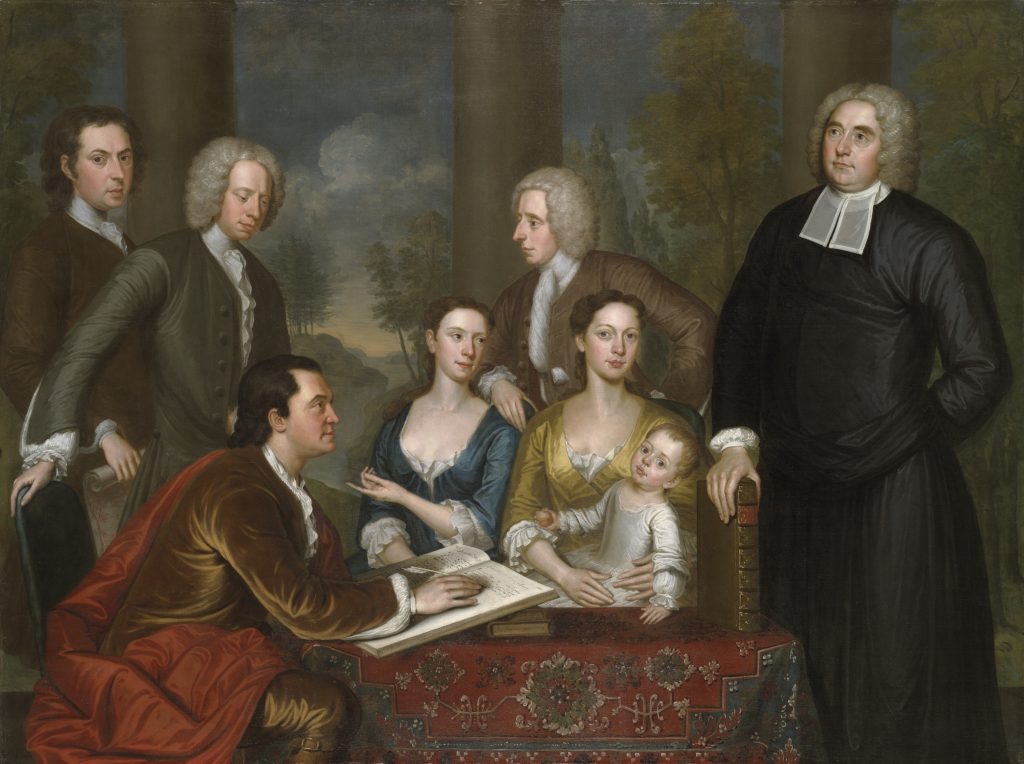 The Bermuda Group, John Smibert, begun in 1728, finished 1739. Yale University Art Gallery