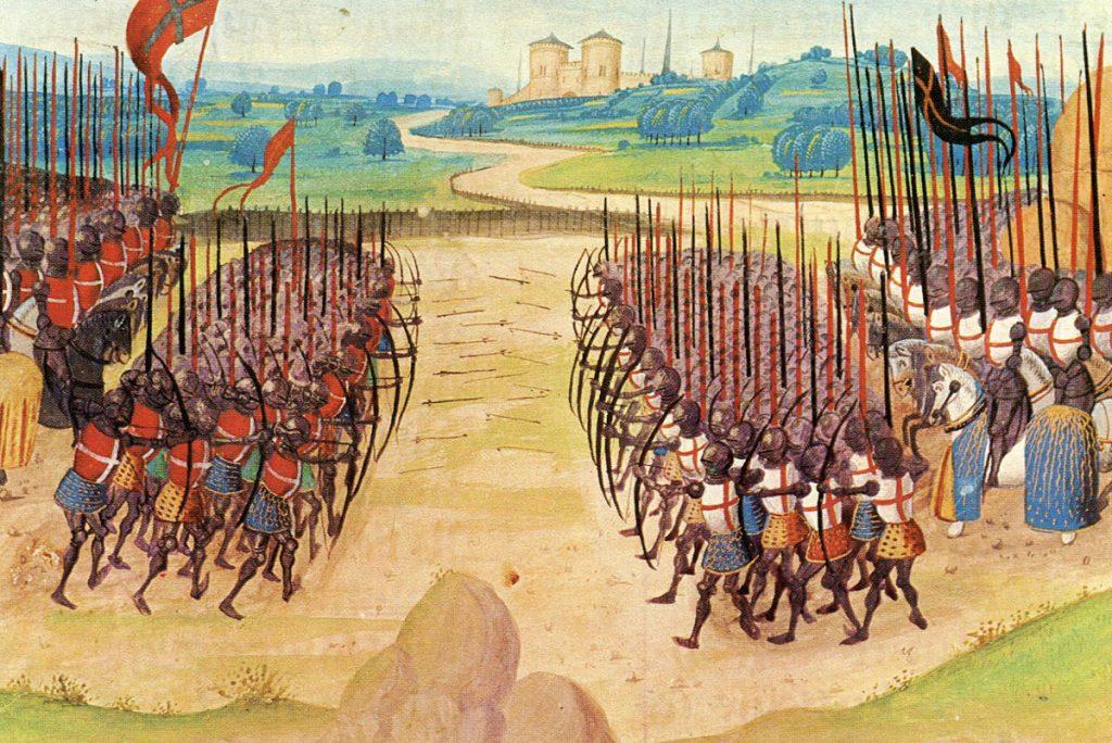 Duel d'archer lors de la bataille d'Azincourt - Abrégé de la Chronique d'Enguerrand de Monstrelet, XVe siècle, Paris, BnF