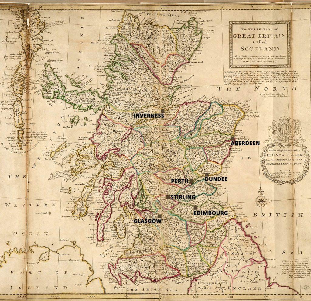 Carte de l'Ecosse par Herman Moll, géographe, 1714