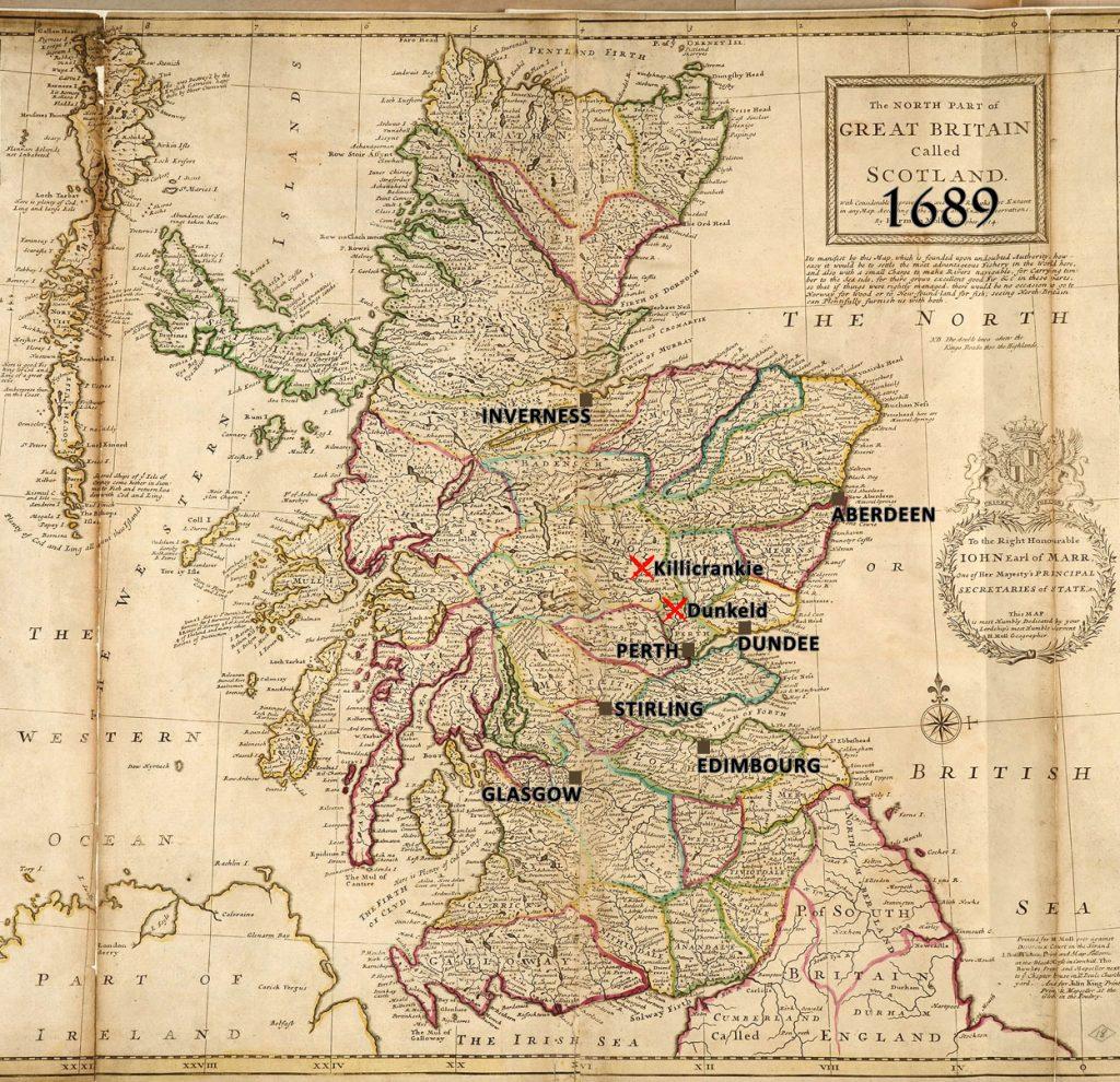 batailles de 1689, Carte de l'Ecosse par Herman Moll, géographe, 1714