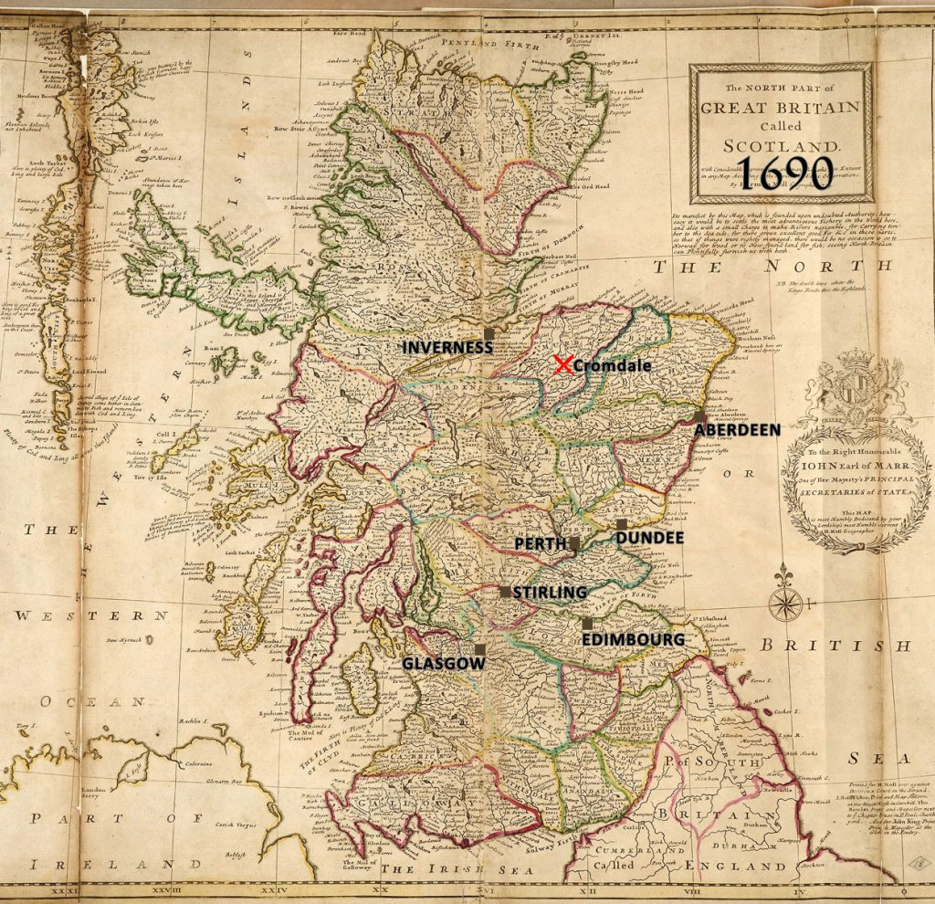 batailles de 1690, Carte de l'Ecosse par Herman Moll, géographe, 1714