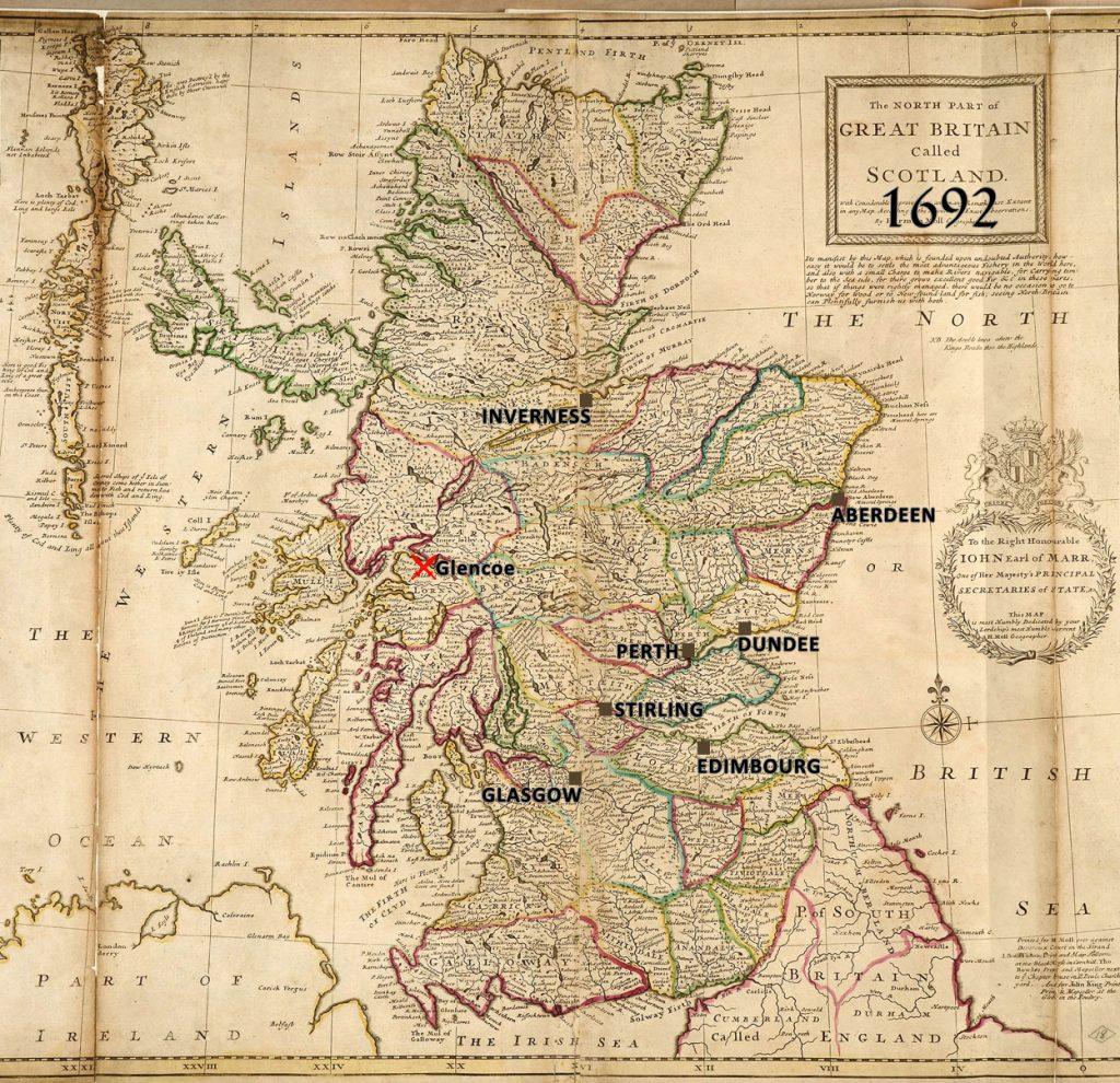 batailles de 1692, Carte de l'Ecosse par Herman Moll, géographe, 1714