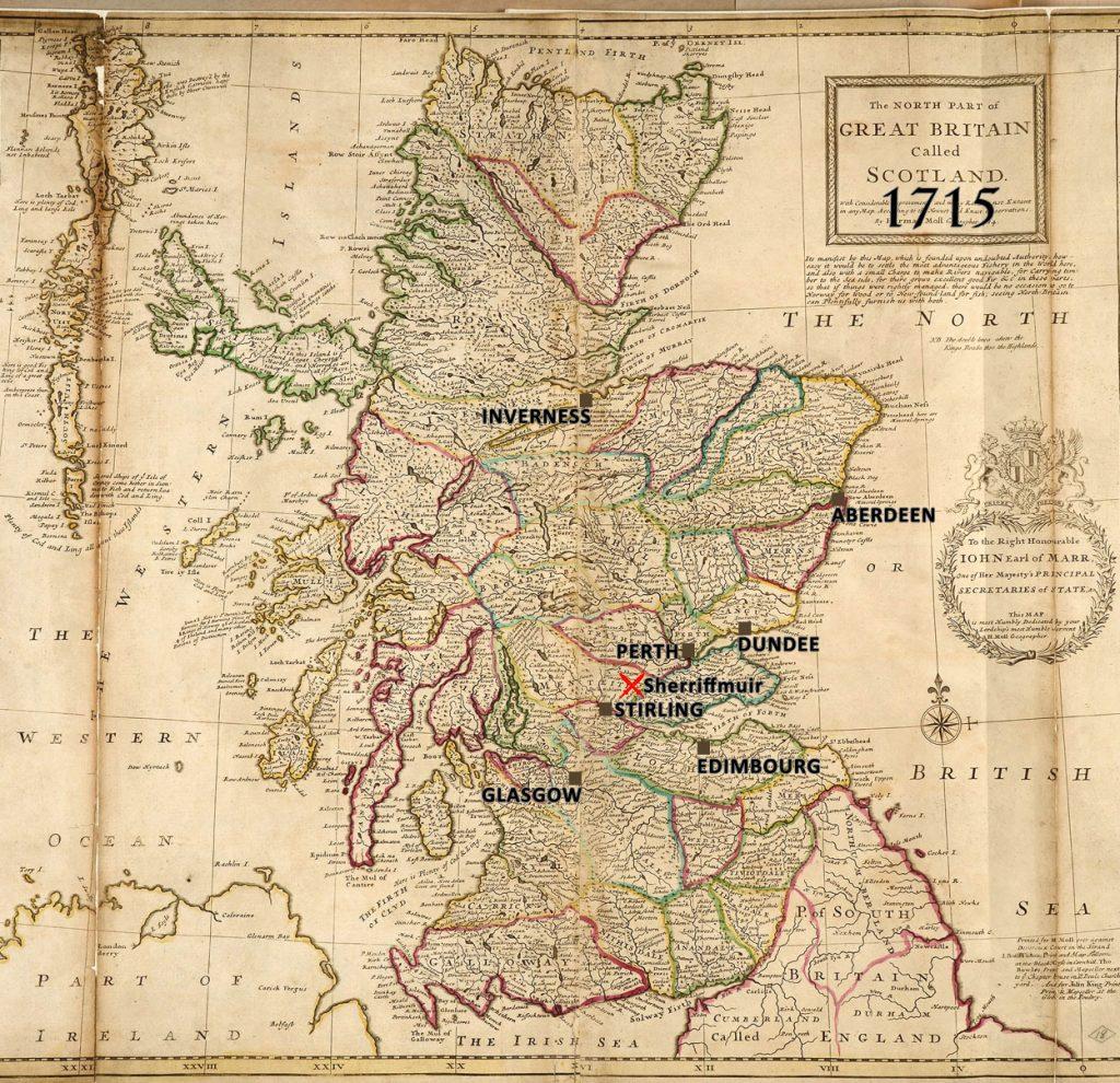 batailles de 1715, Carte de l'Ecosse par Herman Moll, géographe, 1714