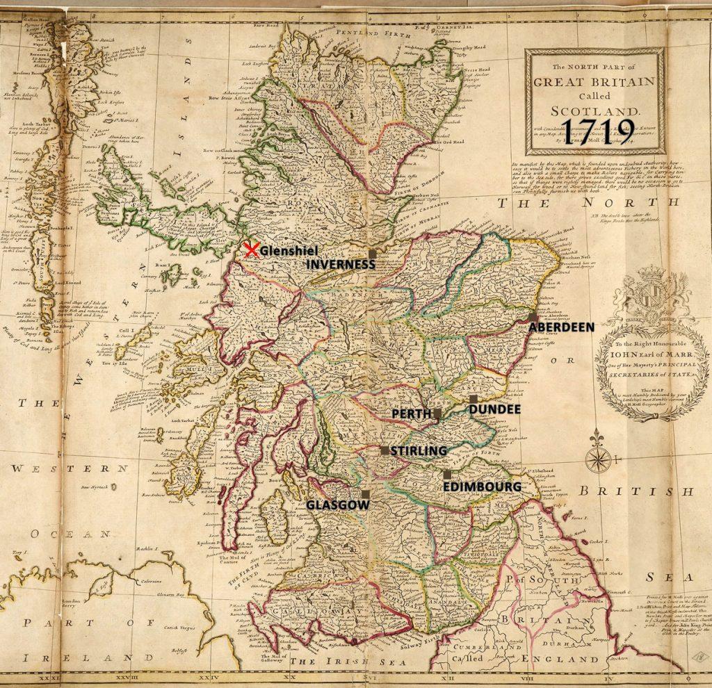 batailles de 1719, Carte de l'Ecosse par Herman Moll, géographe, 1714