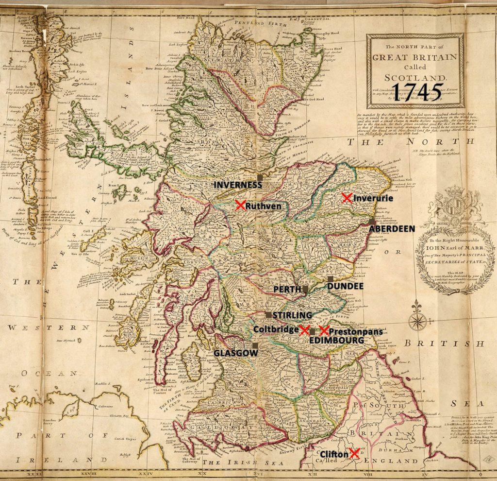 batailles de 1745, Carte de l'Ecosse par Herman Moll, géographe, 1714