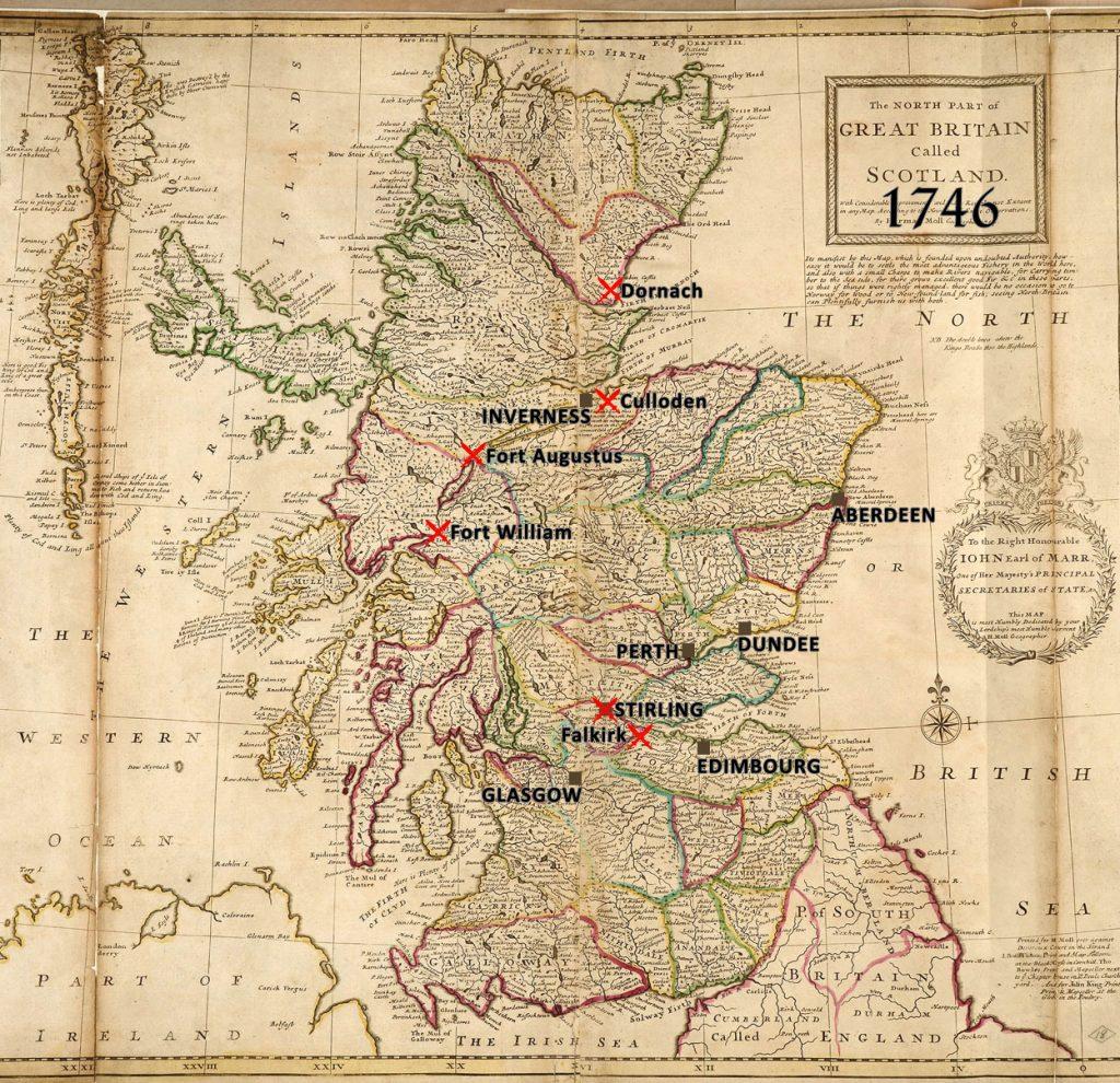 batailles de 1746, Carte de l'Ecosse par Herman Moll, géographe, 1714