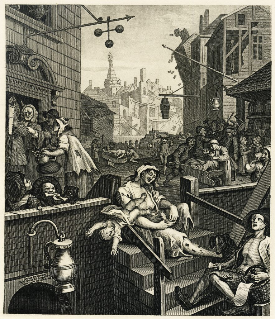 Gin Lane -1751 - de William Hogarth, dépeignant les ravages du gin en Grande Bretagne