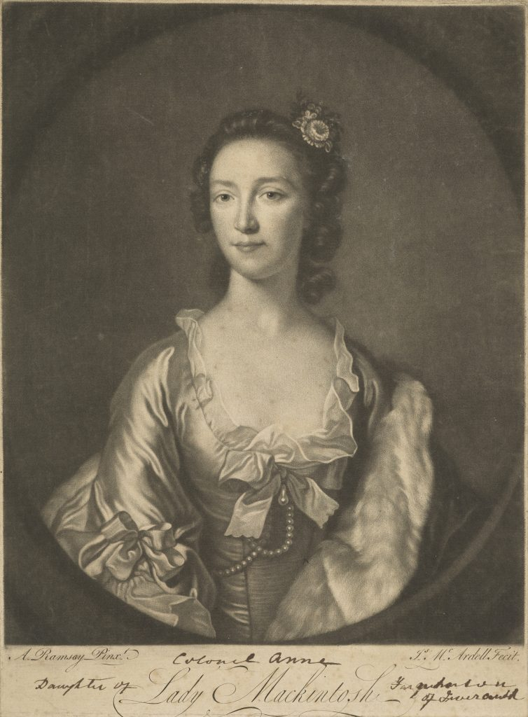 Anne Mackintosh (née Farquharson), Lady Mackintosh, 1723 - 1784. par James McArdell (d'après Allan Ramsay) Jacobite connue comme 'Colonel Anne'