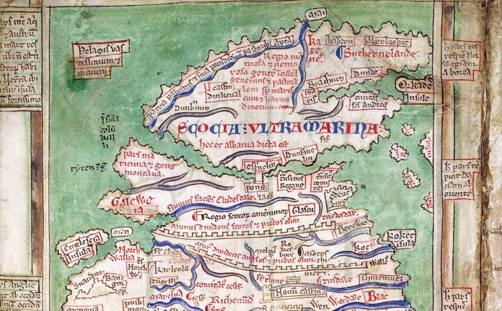 Carte de l'Écosse de la carte de Matthew Paris (détail) - 1250