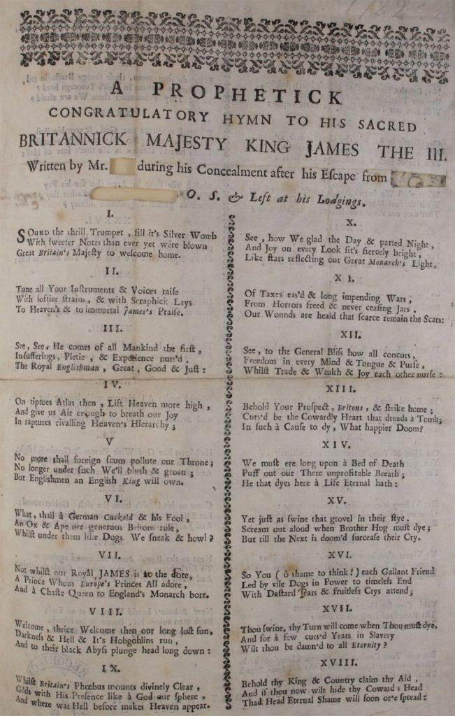 Extrait d'un chant jacobite en 43 verses de 1722