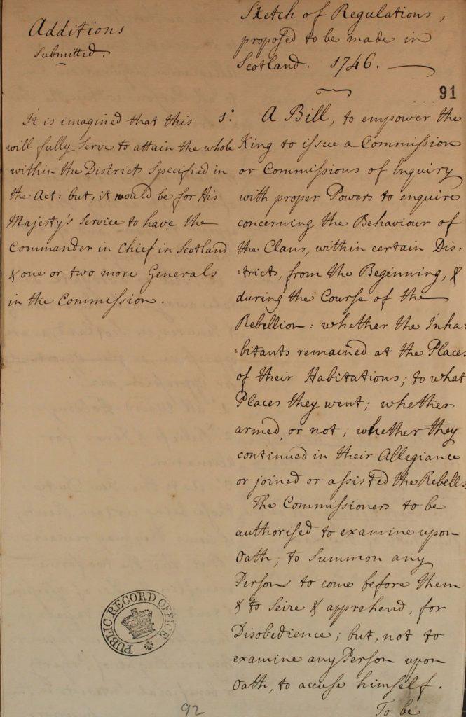 Extraits d'un brouillon de règlement proposé pour être appliqué en Ecosse, 28 juin 1746, partie 1