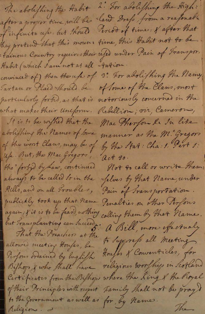 Extraits d'un brouillon de règlement proposé pour être appliqué en Ecosse, 28 juin 1746, partie 2